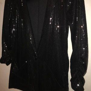 Sparkly Black Sequin Blazer with Pockets.
